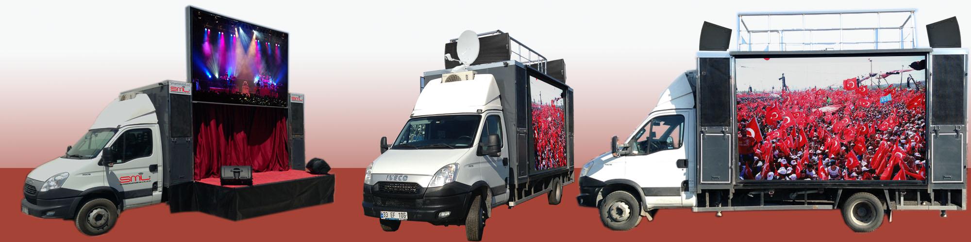 Mobil Sahne Mobil Led seçim otobüsü kiralık seçim araçları